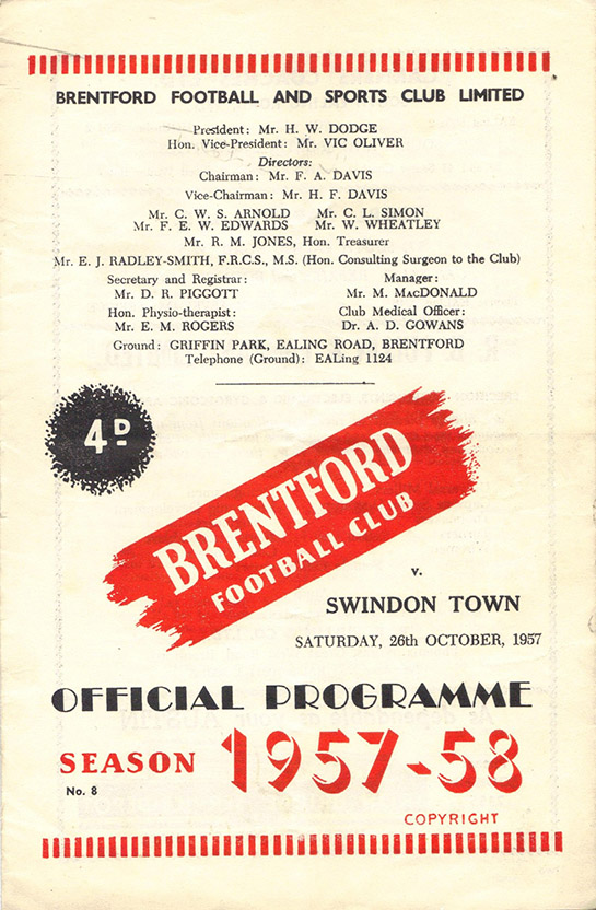 Saturday, October 26, 1957 - vs. Brentford (Away)