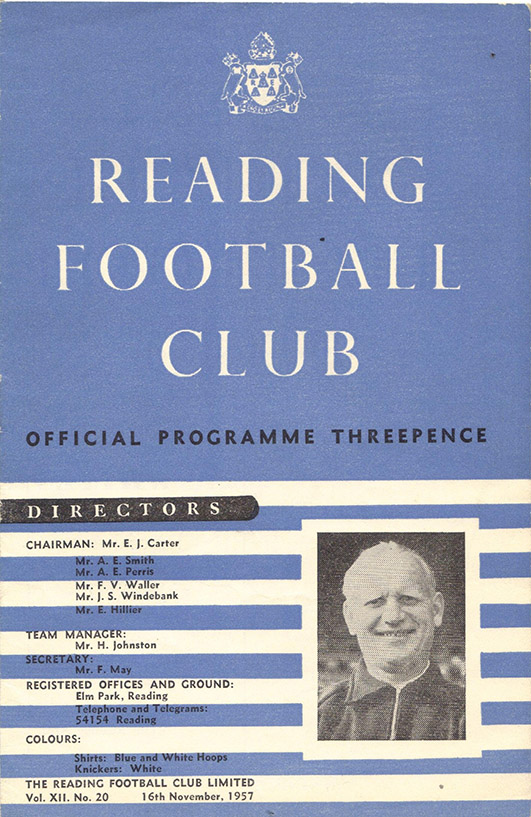 Saturday, November 16, 1957 - vs. Reading (Away)