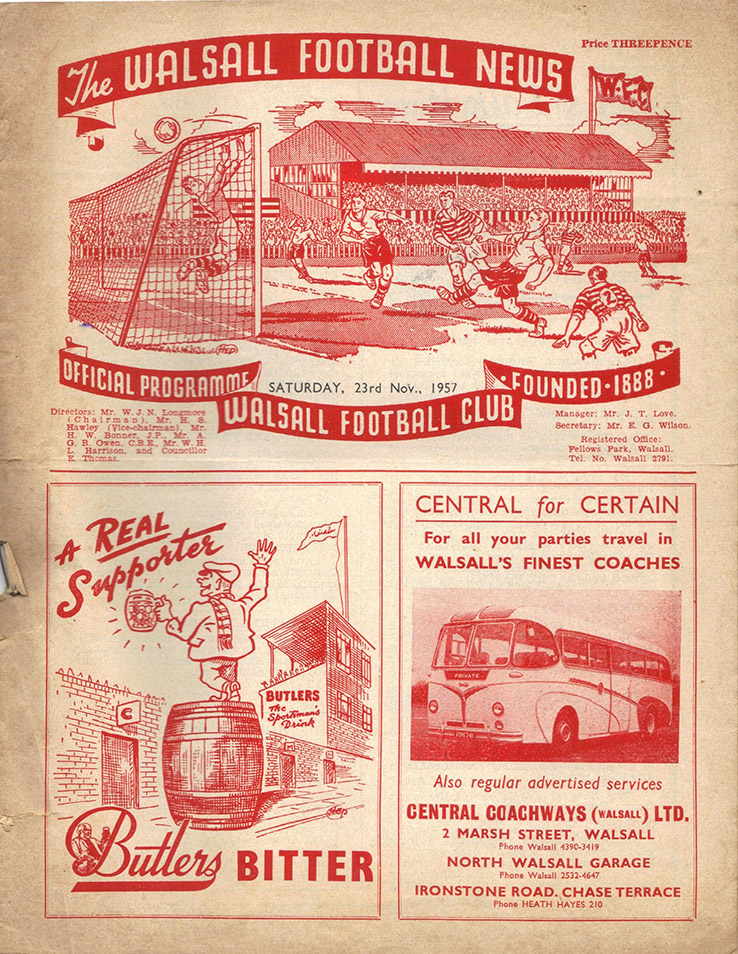 Saturday, November 23, 1957 - vs. Walsall (Away)