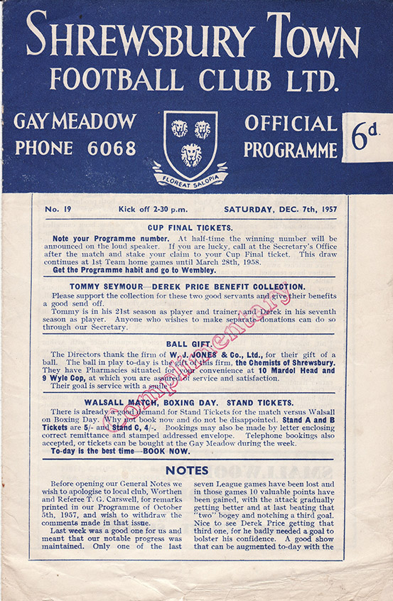 Saturday, December 7, 1957 - vs. Shrewsbury Town (Away)