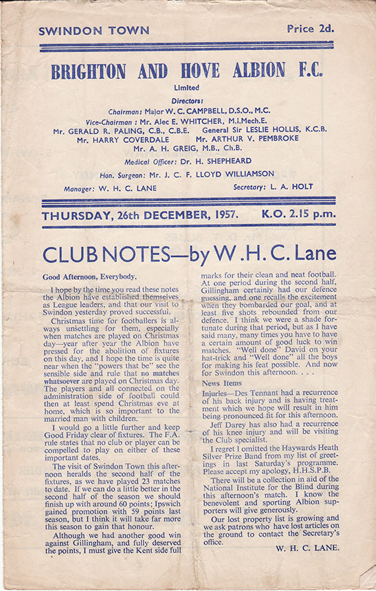 Thursday, December 26, 1957 - vs. Brighton and Hove Albion (Away)