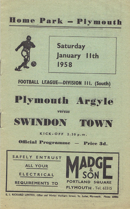 Saturday, January 11, 1958 - vs. Plymouth Argyle (Away)