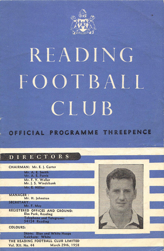 Saturday, March 29, 1958 - vs. Reading (Away)