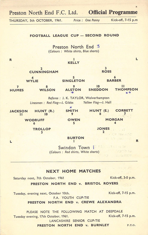 Thursday, October 5, 1961 - vs. Preston North End (Away)