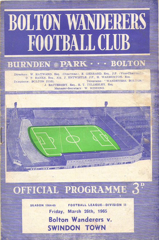 Friday, March 26, 1965 - vs. Bolton Wanderers (Away)