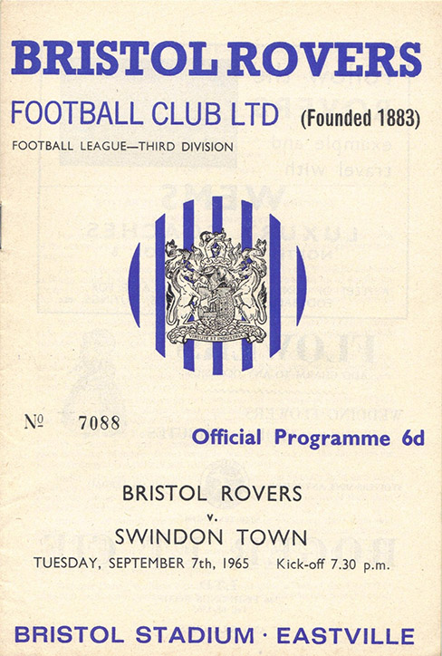 Tuesday, September 7, 1965 - vs. Bristol Rovers (Away)