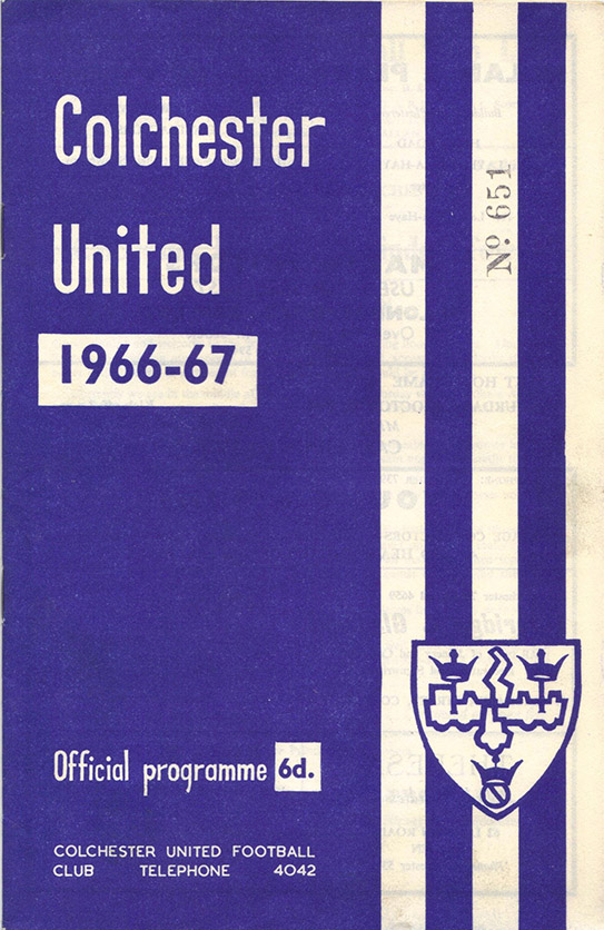 Monday, September 26, 1966 - vs. Colchester United (Away)