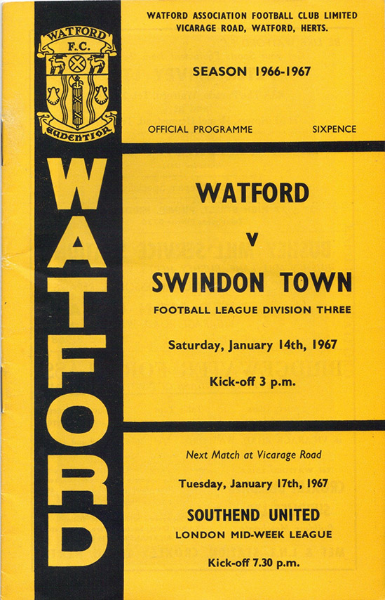 Saturday, January 14, 1967 - vs. Watford (Away)
