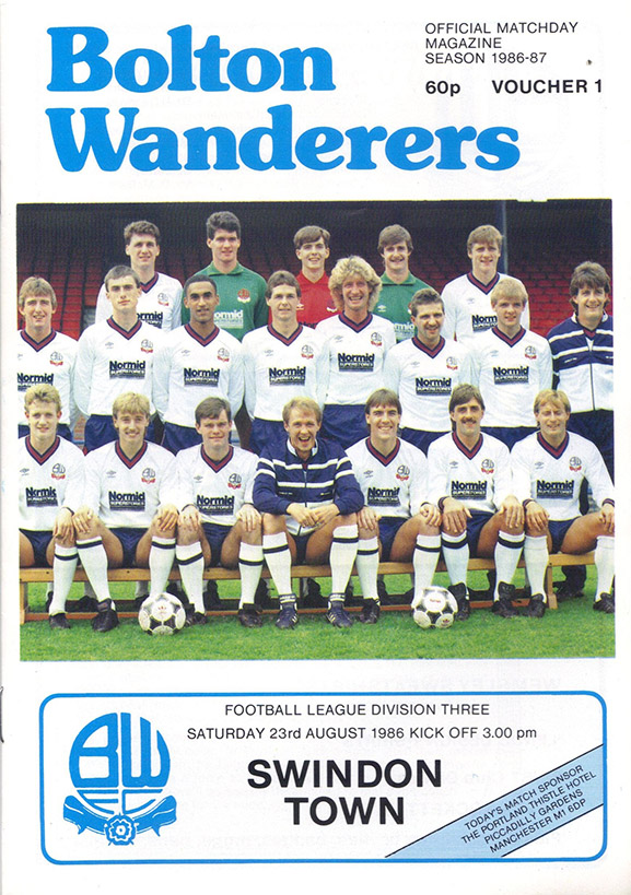 Saturday, August 23, 1986 - vs. Bolton Wanderers (Away)