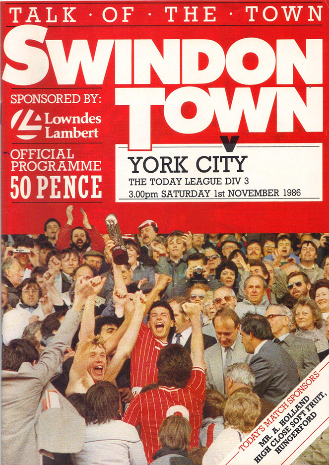 Saturday, November 1, 1986 - vs. York City (Home)