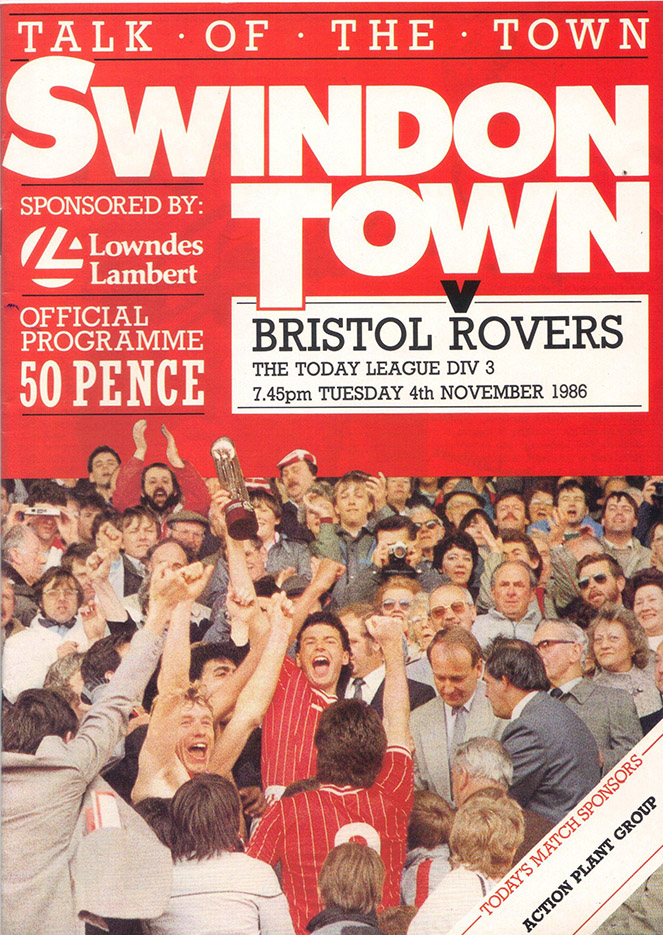 Tuesday, November 4, 1986 - vs. Bristol Rovers (Home)