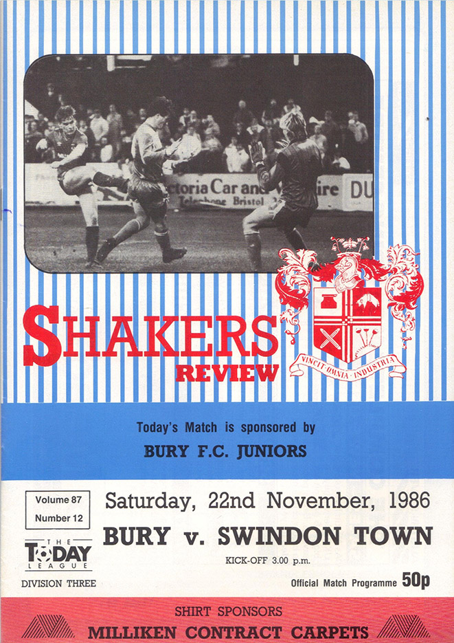 Saturday, November 22, 1986 - vs. Bury (Away)