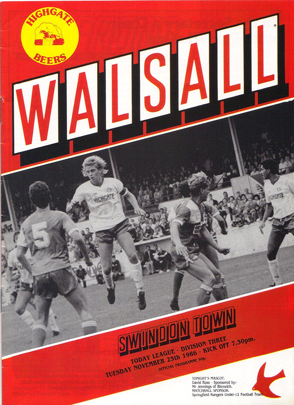 Tuesday, November 25, 1986 - vs. Walsall (Away)