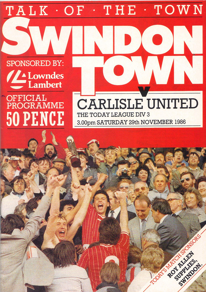 Saturday, November 29, 1986 - vs. Carlisle United (Home)