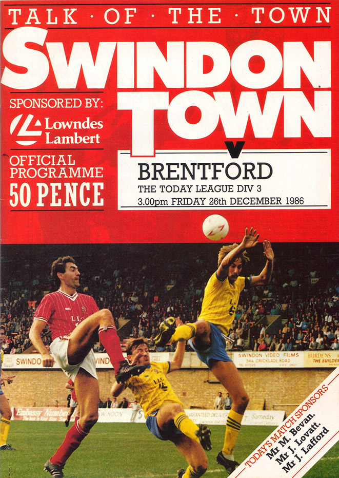 Friday, December 26, 1986 - vs. Brentford (Home)