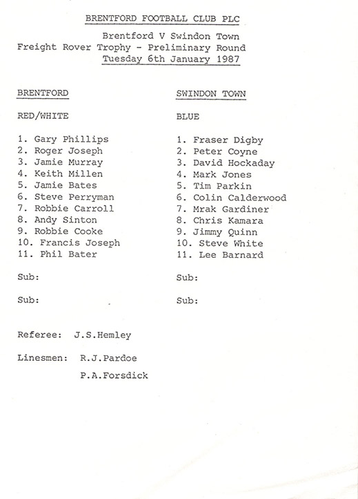 Tuesday, January 6, 1987 - vs. Brentford (Away)