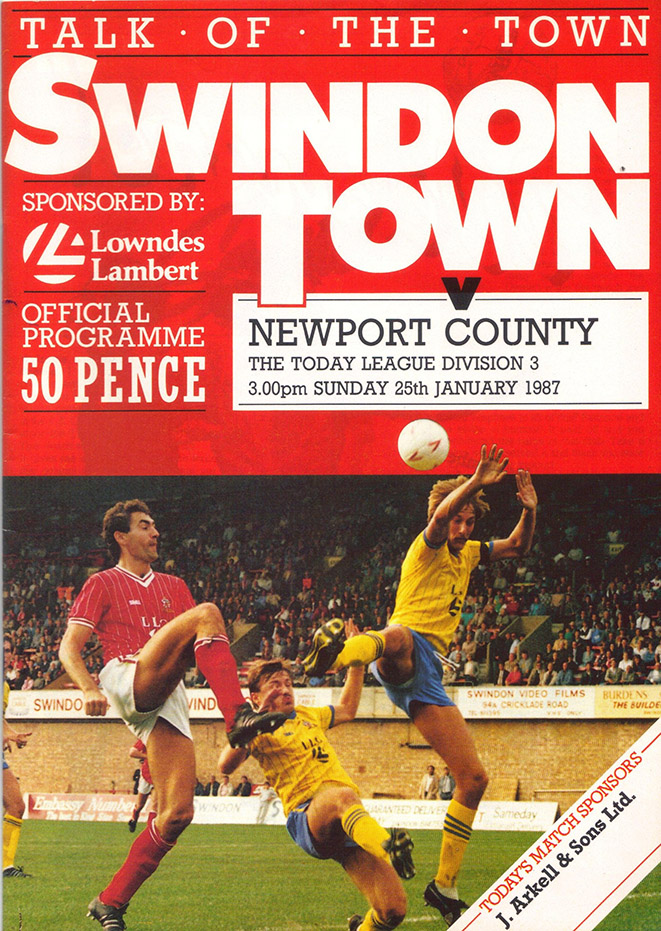 Sunday, January 25, 1987 - vs. Newport County (Home)