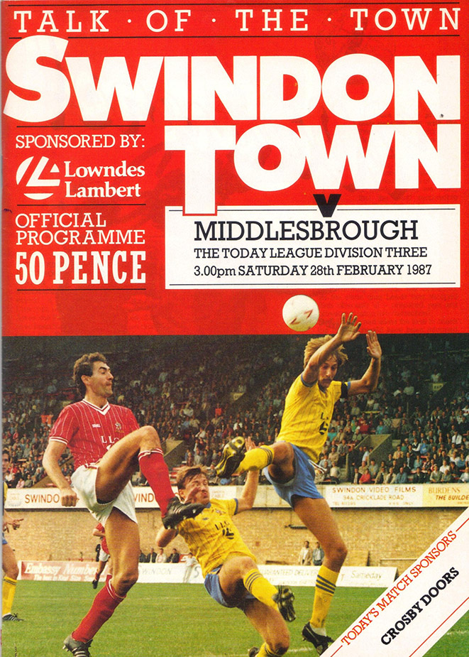 Saturday, February 28, 1987 - vs. Middlesbrough (Home)