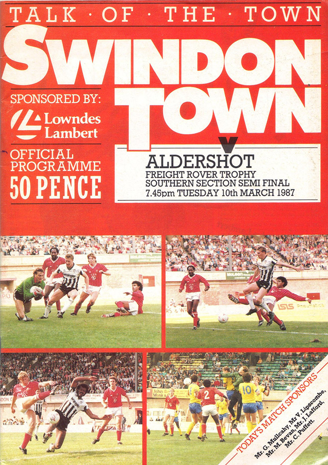 Tuesday, March 10, 1987 - vs. Aldershot (Home)
