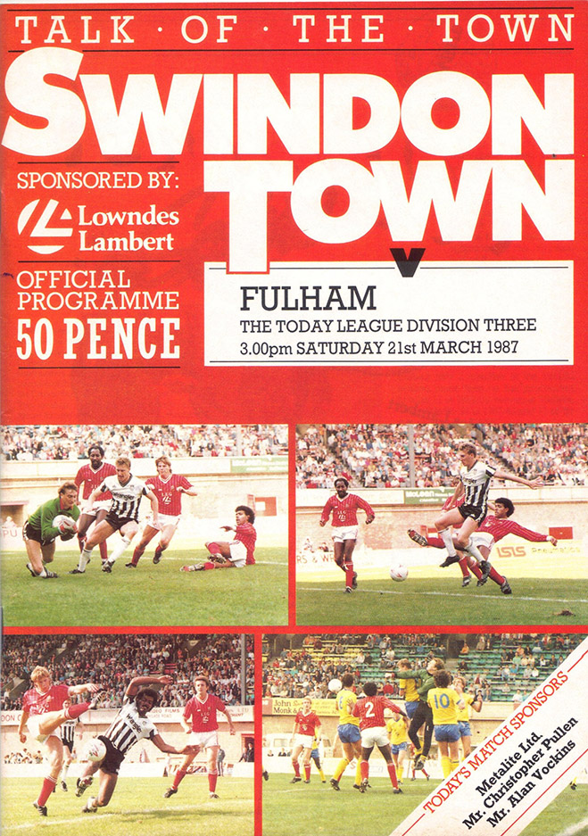Saturday, March 21, 1987 - vs. Fulham (Home)