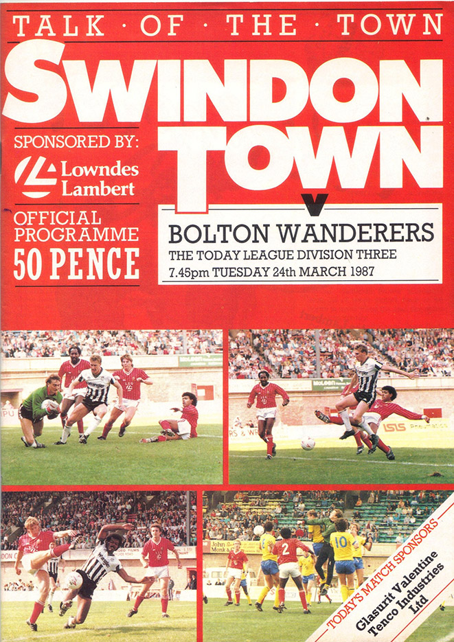 Tuesday, March 24, 1987 - vs. Bolton Wanderers (Home)
