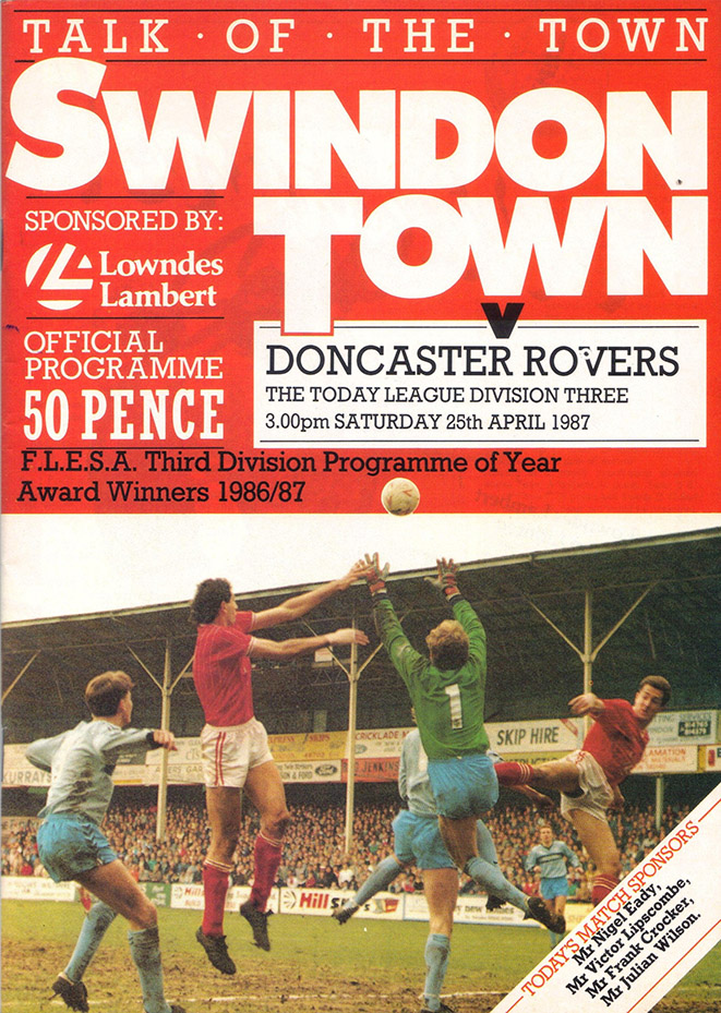 Saturday, April 25, 1987 - vs. Doncaster Rovers (Home)
