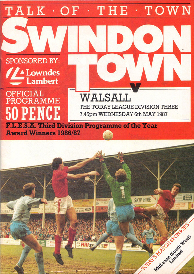Wednesday, May 6, 1987 - vs. Walsall (Home)