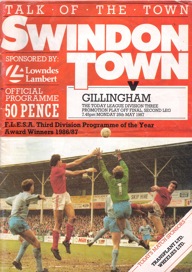 Monday, May 25, 1987 - vs. Gillingham (Home)