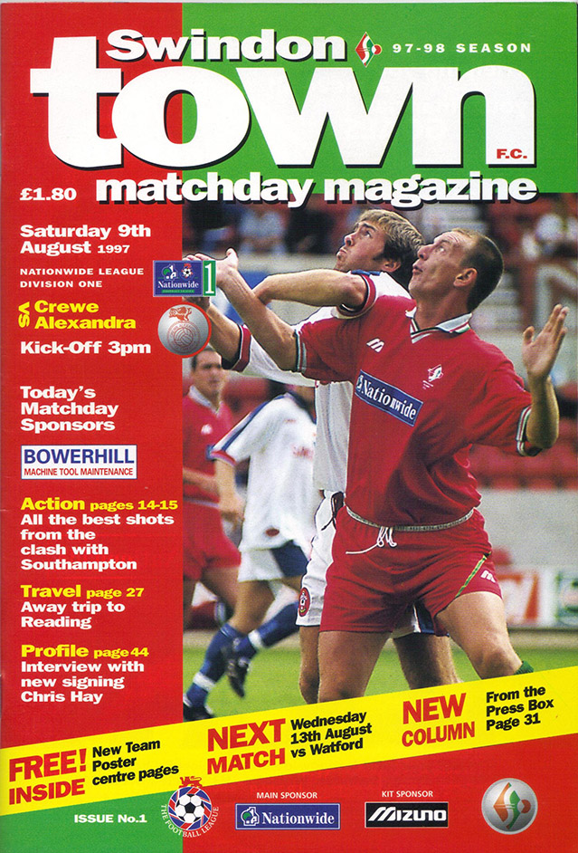 <b>Saturday, August 9, 1997</b><br />vs. Crewe Alexandra (Home)