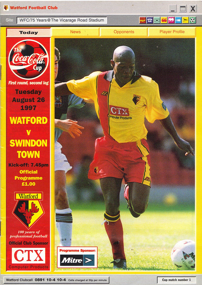 <b>Tuesday, August 26, 1997</b><br />vs. Watford (Away)