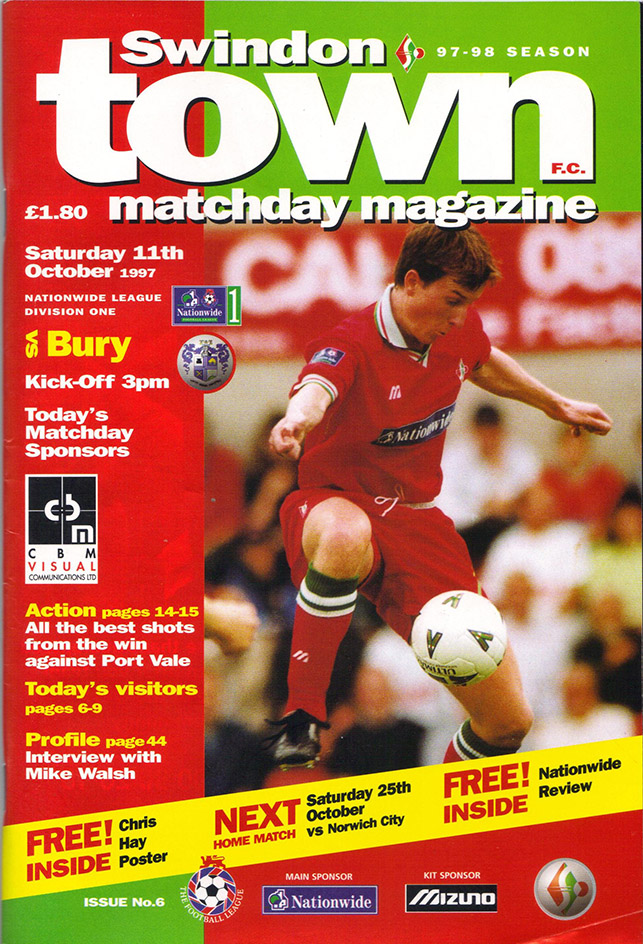 <b>Saturday, October 11, 1997</b><br />vs. Bury (Home)