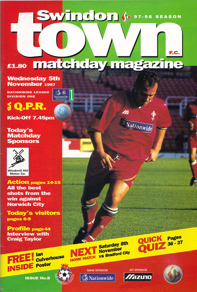<b>Wednesday, November 5, 1997</b><br />vs. Queens Park Rangers (Home)