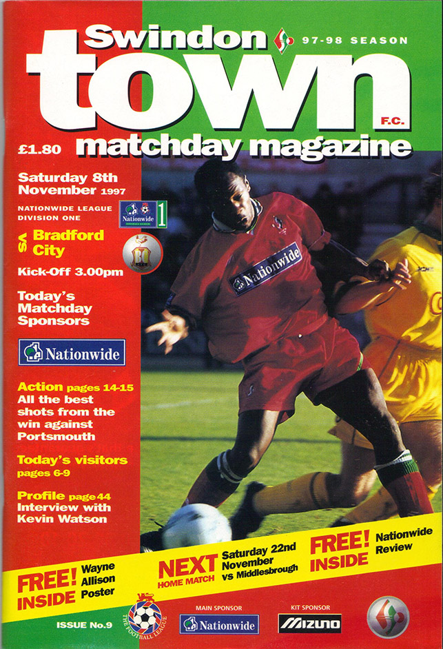 <b>Saturday, November 8, 1997</b><br />vs. Bradford City (Home)