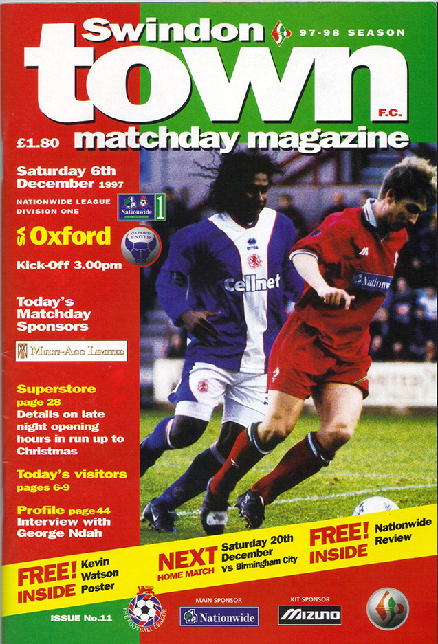 <b>Saturday, December 6, 1997</b><br />vs. Oxford United (Home)