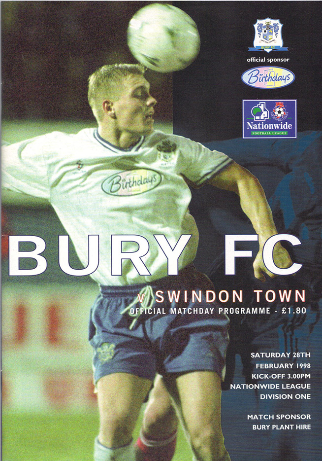 <b>Saturday, February 28, 1998</b><br />vs. Bury (Away)