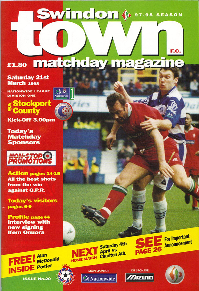 <b>Saturday, March 21, 1998</b><br />vs. Stockport County (Home)