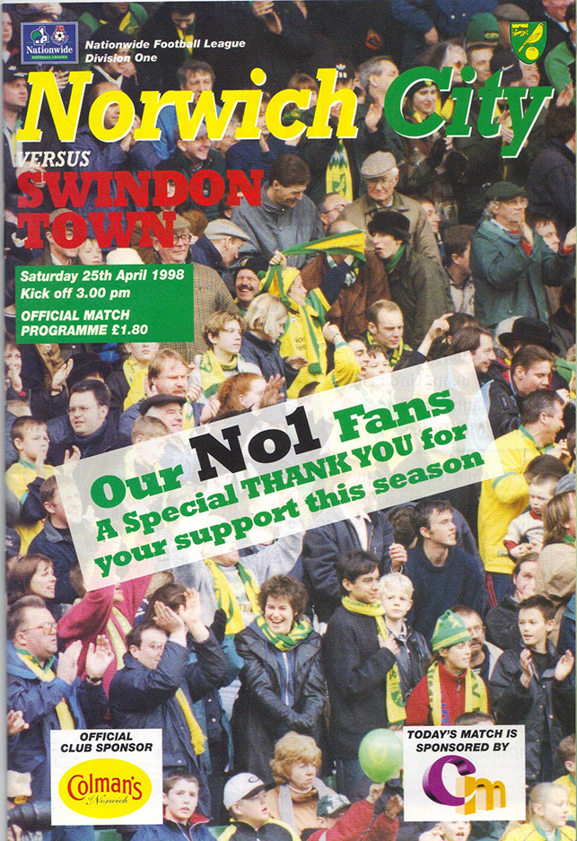 <b>Saturday, April 25, 1998</b><br />vs. Norwich City (Away)