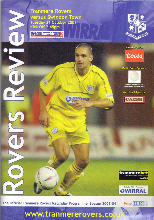 Tuesday, October 21, 2003 - vs. Tranmere Rovers (Away)