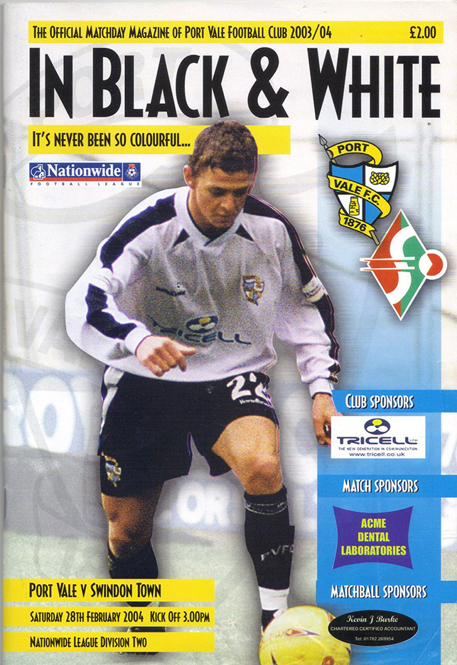 Tuesday, March 30, 2004 - vs. Port Vale (Away)