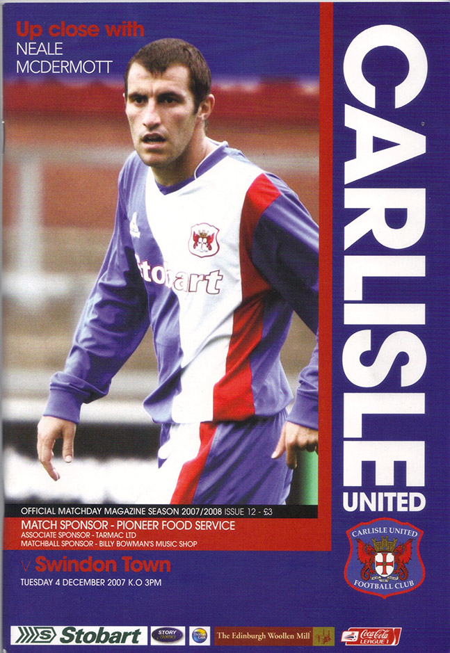 Tuesday, December 4, 2007 - vs. Carlisle United (Away)