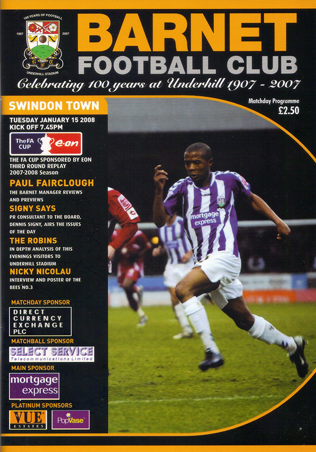 Tuesday, January 22, 2008 - vs. Barnet (Away)