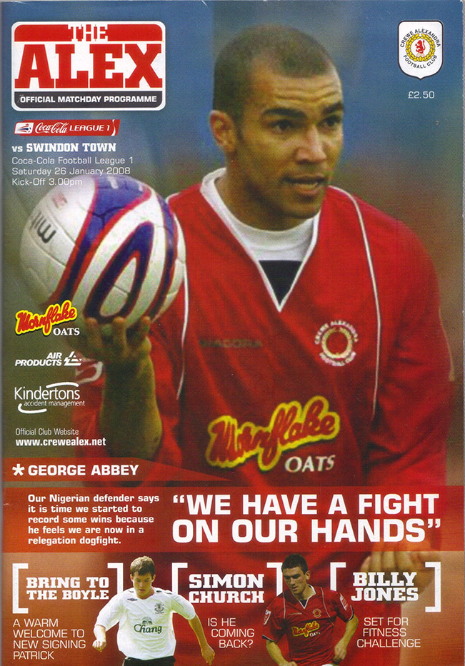 Saturday, January 26, 2008 - vs. Crewe Alexandra (Away)
