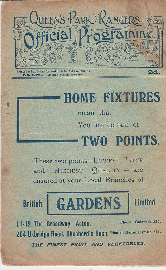 Saturday, September 15, 1923 - vs. Queens Park Rangers (Away)