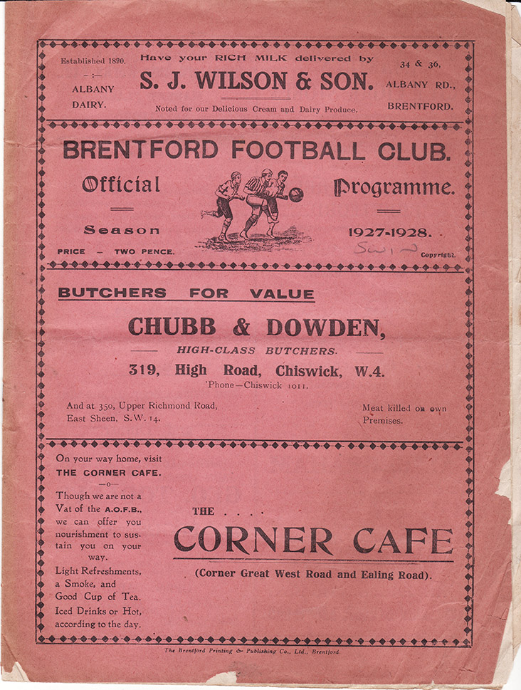 Saturday, November 5, 1927 - vs. Brentford (Away)