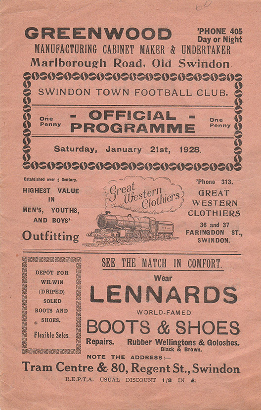 Saturday, January 21, 1928 - vs. Watford (Home)