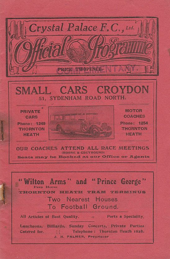 Saturday, March 24, 1928 - vs. Crystal Palace (Away)