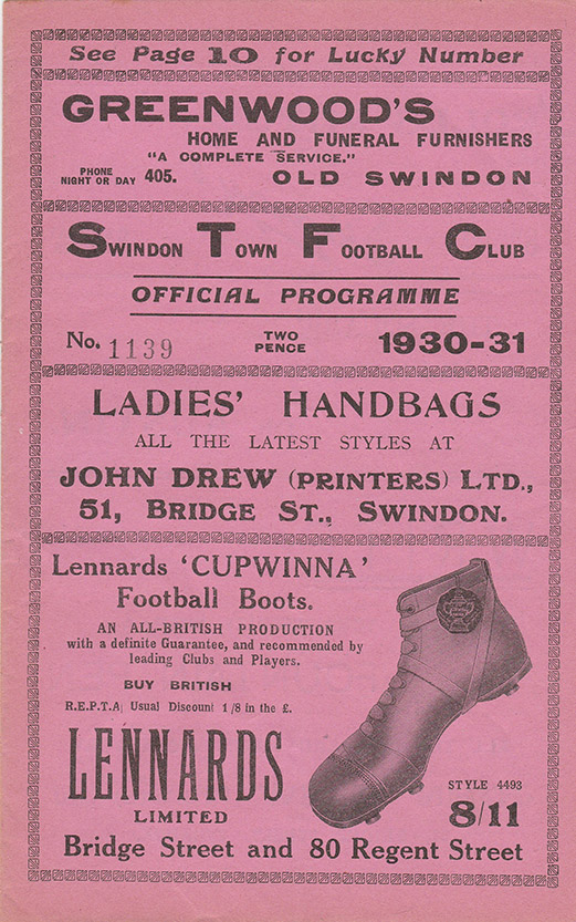 Saturday, October 25, 1930 - vs. Luton Town (Home)