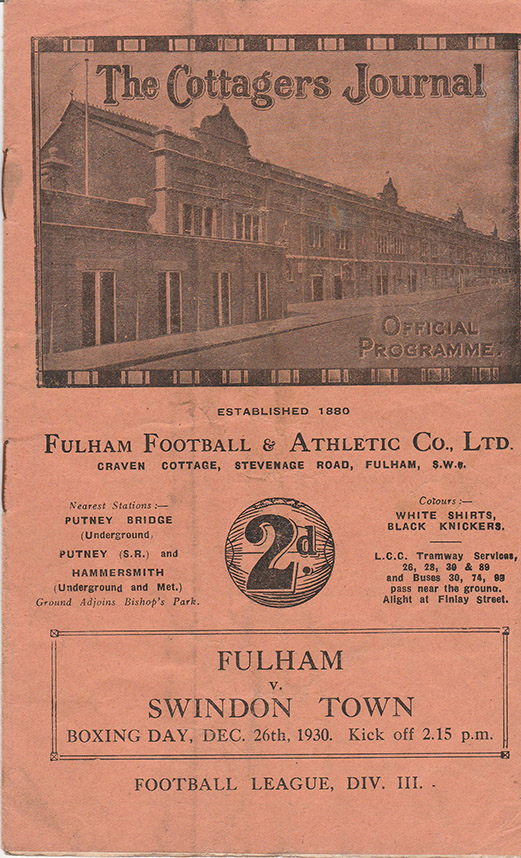 Friday, December 26, 1930 - vs. Fulham (Away)