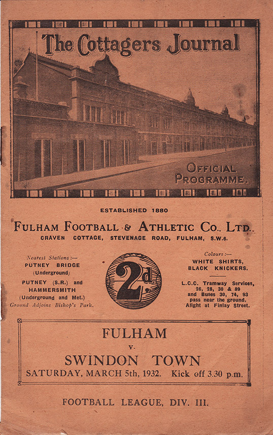 Saturday, March 5, 1932 - vs. Fulham (Away)