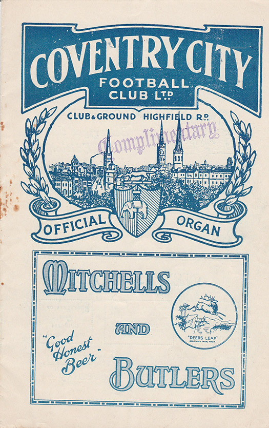 Saturday, April 2, 1932 - vs. Coventry City (Away)